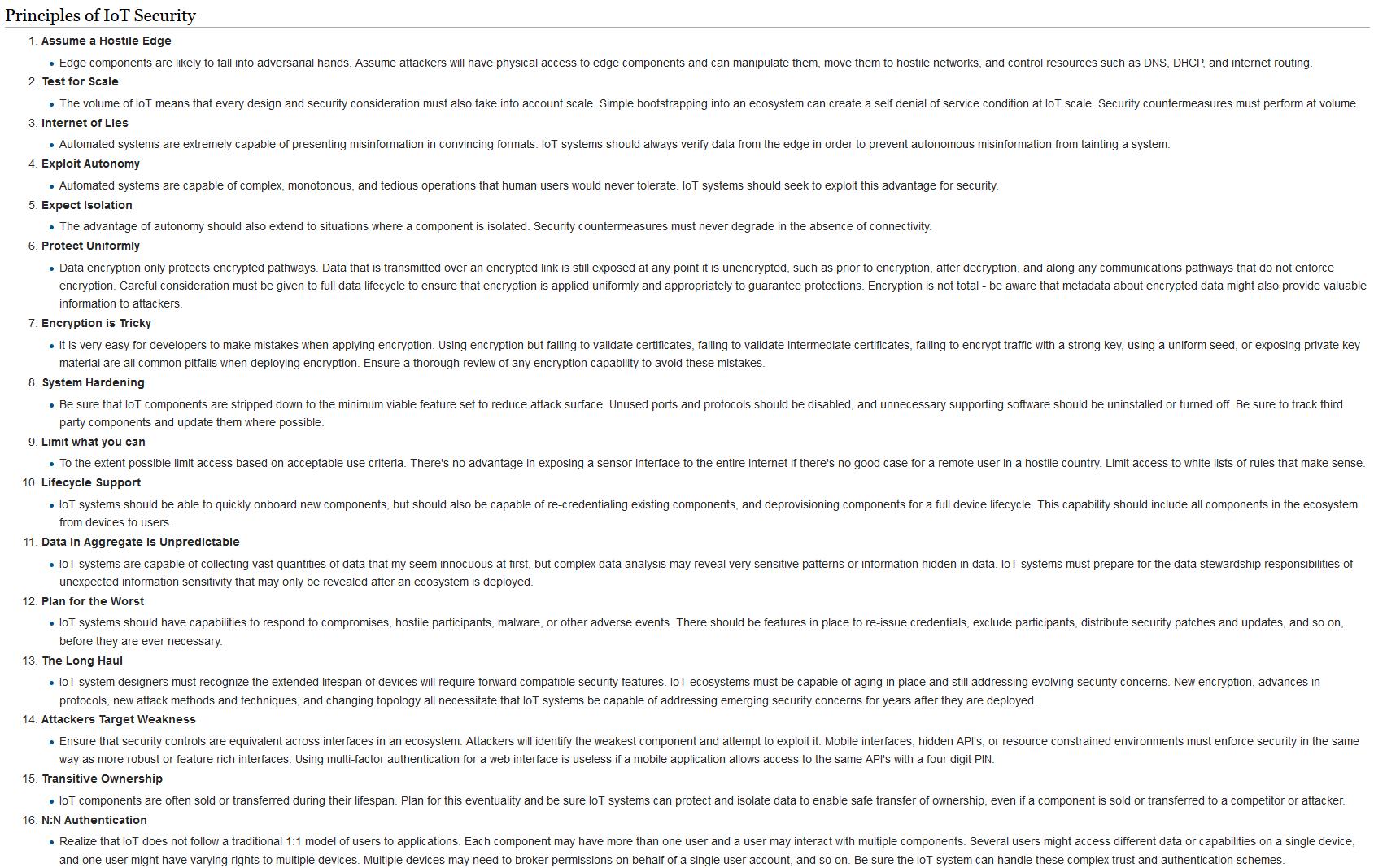 OWASP-Prinzipien der IoT-Sicherheit - Bis auf einige Punkte gehen unsere Testkriterien und -szenarien auf all diese Punkte ein. (https://www.owasp.org/index.php/Principles_of_IoT_Security)