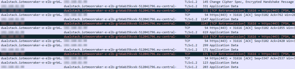 Wireshark shows TLS traffic.
