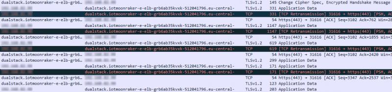 Wireshark zeigt den TLS-Verkehr.
