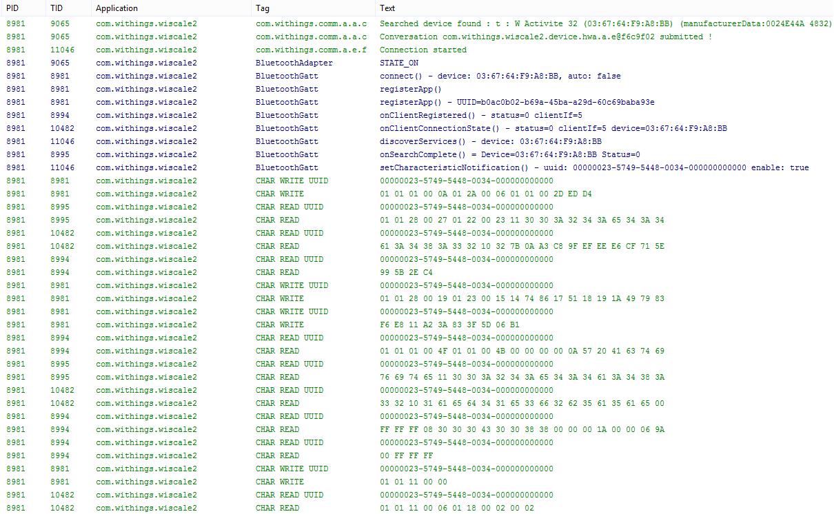 Bluetooth LE Authentifizierungs- und Synchronisierungsverfahren; Logcat Auszug