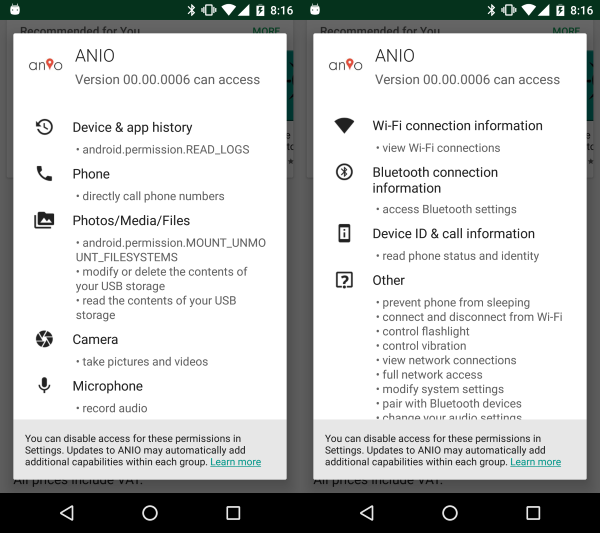 Berechtigungen der Android-App