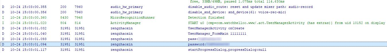 Zugangsdaten im Android Logcat angezeigt