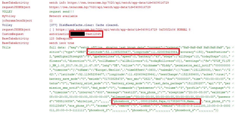 Auszug aus dem Android Logcat mit Darstellung der Nutzer-Credentials, des Standorts der Uhr und der Einträge im Telefonbuch