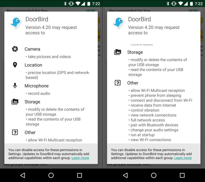 Die Berechtigungen der DoorBird-App