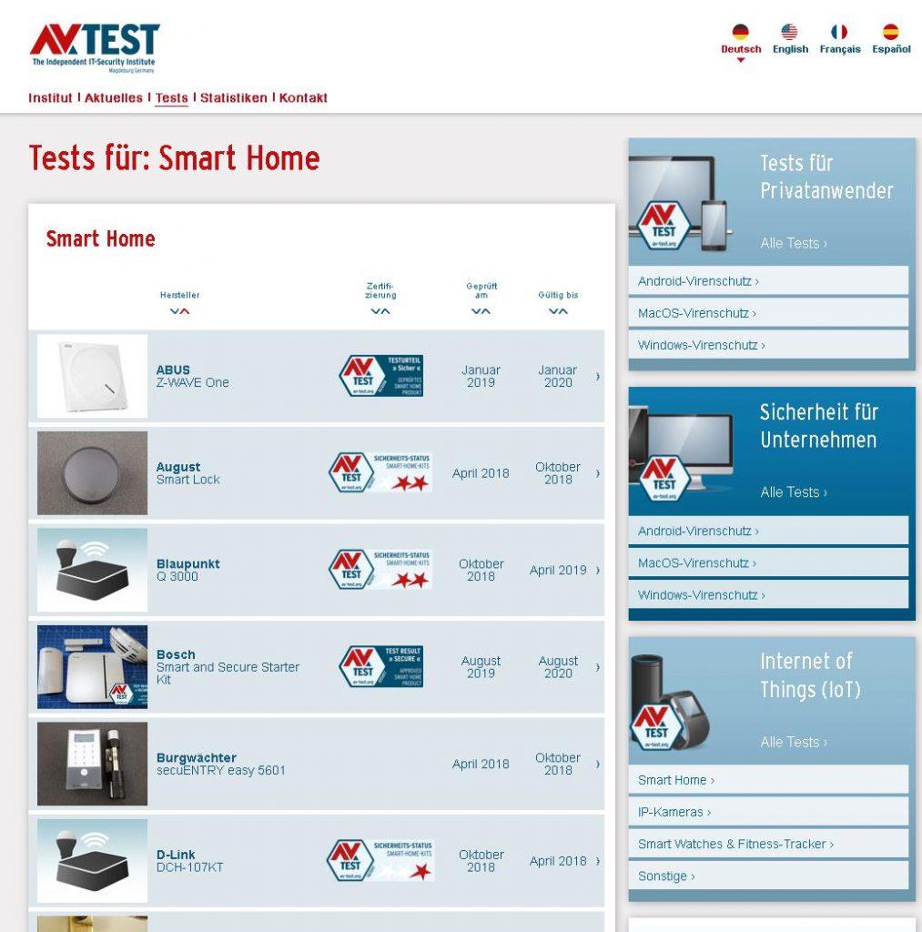 Welche Smart Home- und Iot-Produkte bieten gute überprüfte und getestete Sicherheit? Die IoT-Produkttabellen auf der Homepage von AV-TEST geben Auskunft.