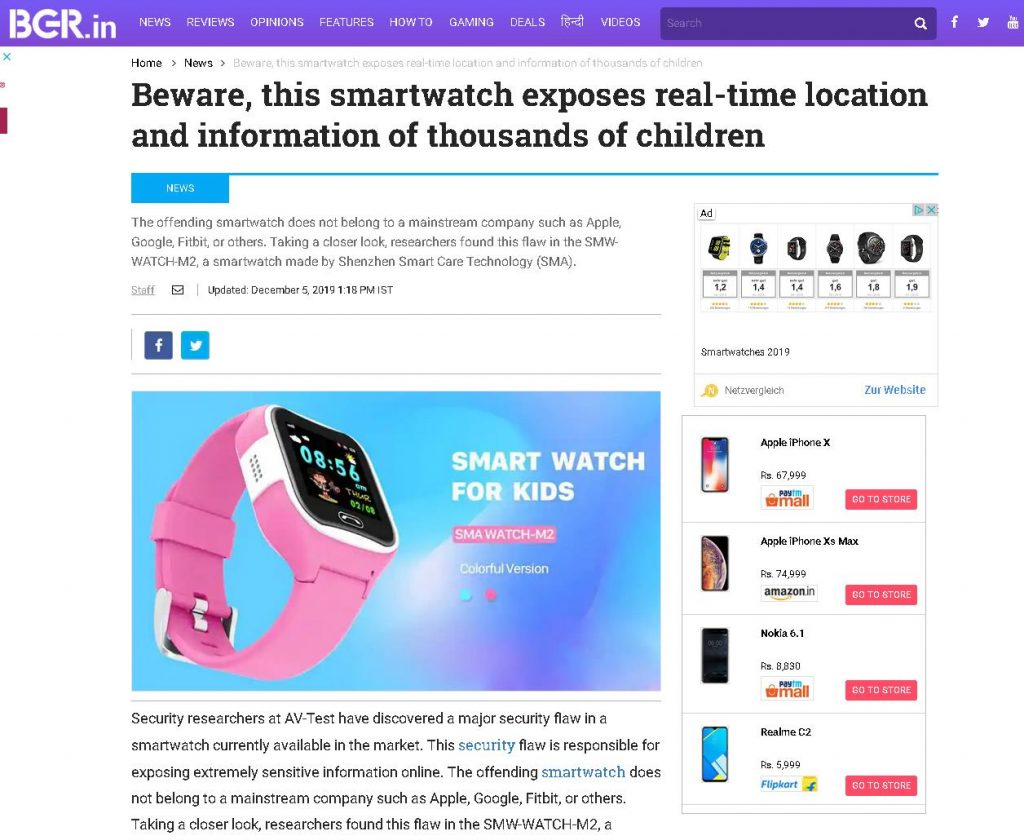 According to information from AV-TEST's IoT Test Lab, TV, print and online media around the globe warned of a dangerous children's watch.