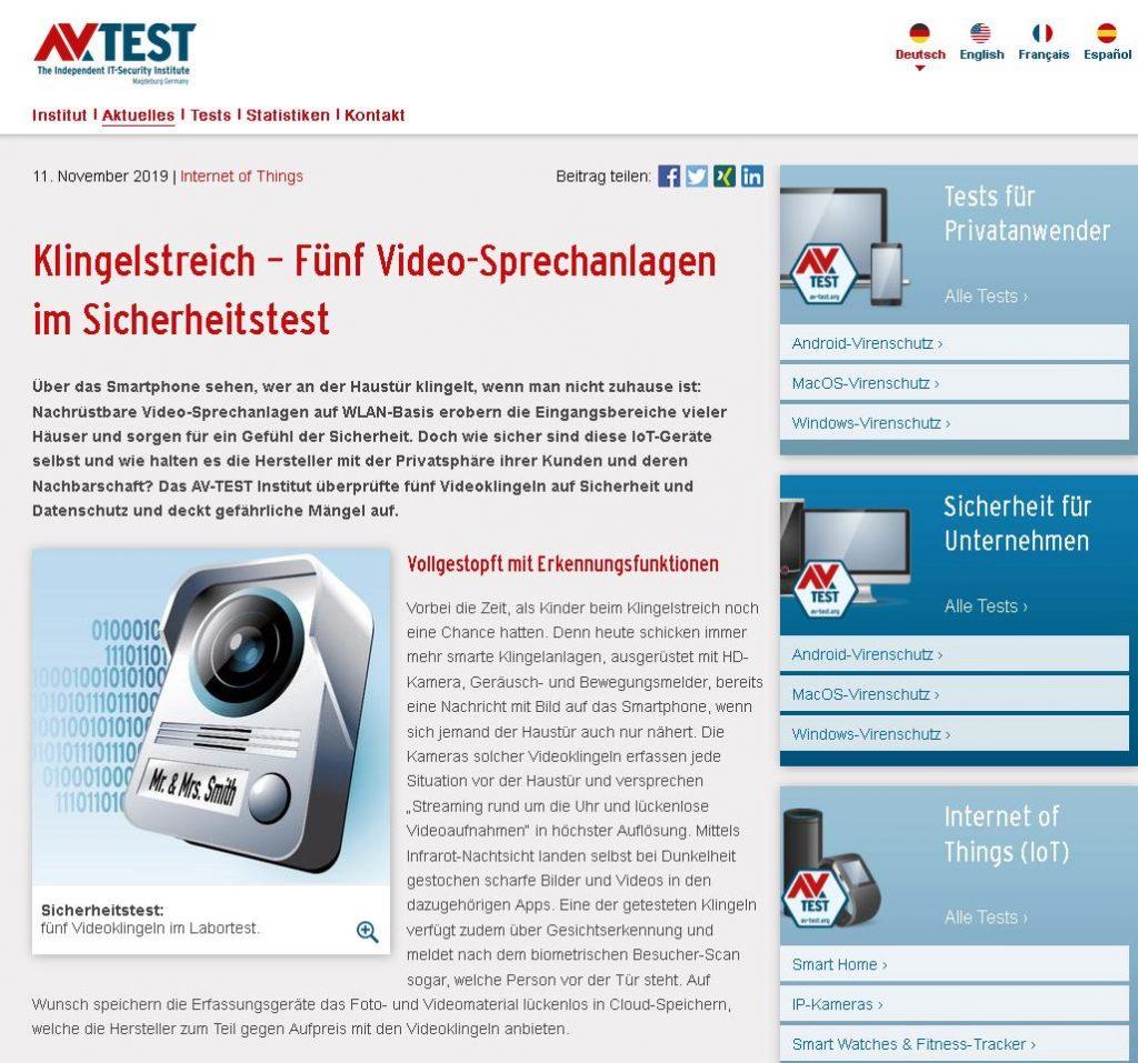 Im zweiten Test 2019 nahmen die Experten des IoT-Labs die Sicherheit von Video-Türklingeln unter Lupe.