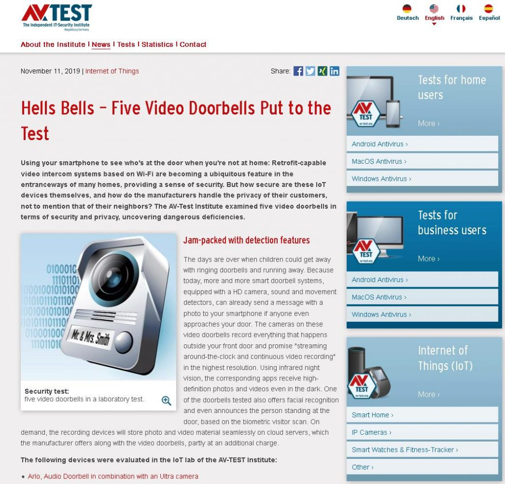 In the second test in 2019, the experts from the IoT Lab took a close look at the security of video doorbells.