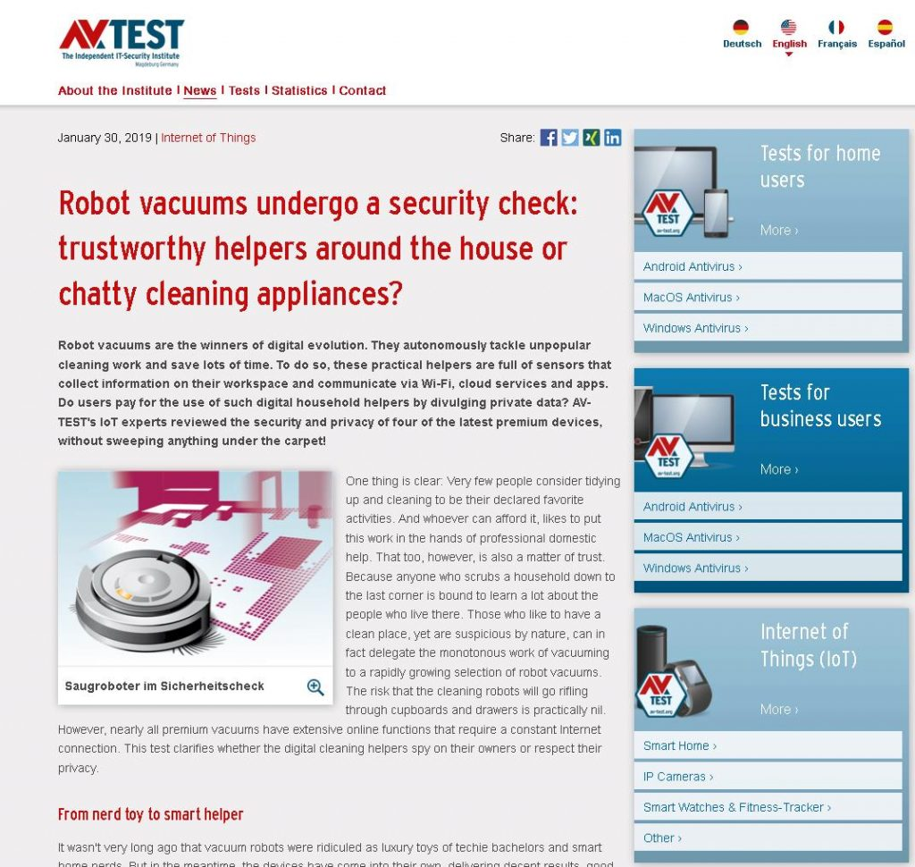 The first comparative test this year examined the securityof vacuum robots.